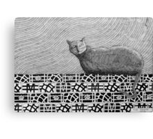 245 - CAT ON A PATCHWORK WALL - DAVE EDWARDS - INK - 2013 Canvas Print
