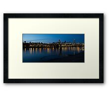 London Skyline Reflecting in the Thames River at Night Framed Print