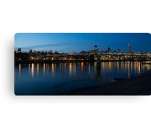 London Skyline Reflecting in the Thames River at Night Canvas Print