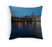 London Skyline Reflecting in the Thames River at Night Throw Pillow