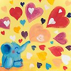 Love - Rondy the Elephant with colorful hearts by oksancia