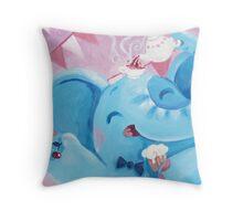 Tea Time - Rondy the Elephant with a tea pot Throw Pillow