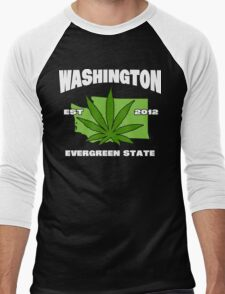 Washington Marijuana Cannabis Weed T-Shirt Men's Baseball ¾ T-Shirt