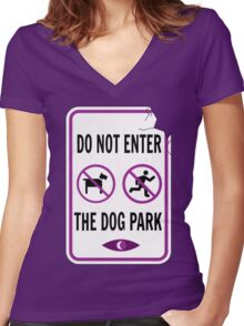 Night Vale - Dog Park Women's Fitted V-Neck T-Shirt