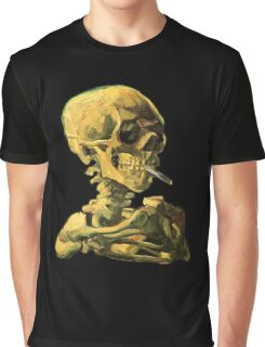 "Vincent Van Gogh - ""Skull of a Skeleton with Burning Cigarette"" Graphic T-Shirt"
