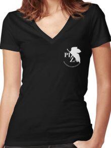 Pizzavangelion Team Shirt Corporate White Women's Fitted V-Neck T-Shirt