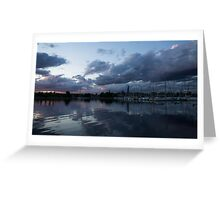 Reflecting on Boats and Clouds Greeting Card