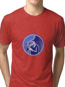 Businessman Flag Bearer Retro Tri-blend T-Shirt