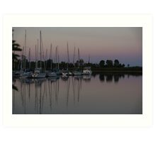 Downtown with Yachts Art Print