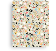 pattern of funny birds Canvas Print