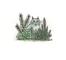 cat in the bushes by Adrienne Kapalko