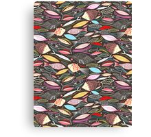 bright autumn pattern of fish and leaves Canvas Print