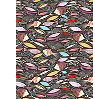 bright autumn pattern of fish and leaves Photographic Print