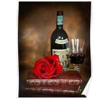 Literary Red Wine Poster