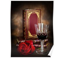 Red Wine with Rose Poster
