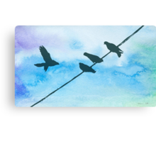 Doves on wire Canvas Print