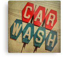 Retro Car Wash Sign Metal Print