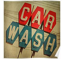 Retro Car Wash Sign Poster