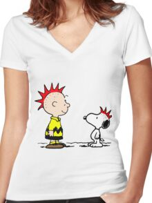 Snoopy and Charlie Brown Punk Women's Fitted V-Neck T-Shirt