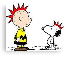 Snoopy and Charlie Brown Punk Canvas Print