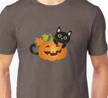 Black cat hides behind pumpkin. Halloween. Unisex T-Shirt