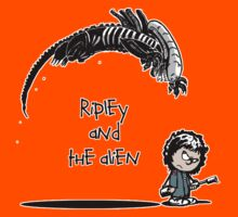 Ripley and the Alien - Black t-shirt Kids Tee