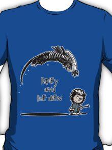 Ripley and the Alien - Black t-shirt T-Shirt