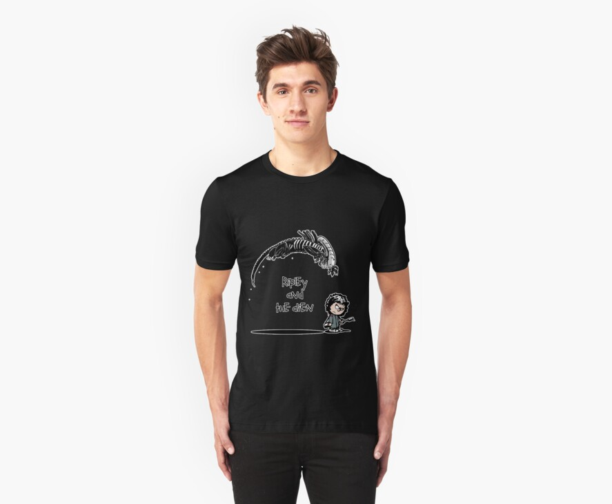 Ripley and the Alien - Black t-shirt by skonenblades