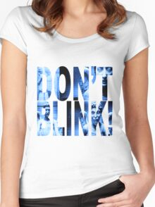 Weeping Angels - Don't Blink!! Blue* Women's Fitted Scoop T-Shirt