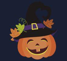 Funny pumpkin in a hat. Halloween. Kids Tee