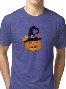Funny pumpkin in a hat. Halloween. Tri-blend T-Shirt