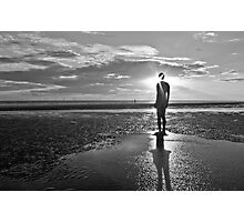 Crosby Beach Iron Man Sunset Black and White Photographic Print