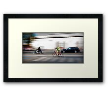 on my bike in the city Framed Print