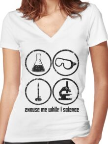 Excuse Me While I Science: Safety Goggles Required - Black Text Version Women's Fitted V-Neck T-Shirt