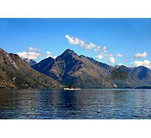 Steamship on New Zealand Lake Photographic Print