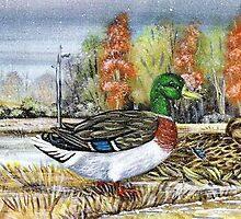 Mallards In The Snow by WildestArt