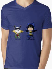 Batman and Robin Peanuts Mens V-Neck T-Shirt