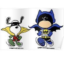 Batman and Robin Peanuts Poster