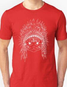 Cat with Headdress - white Unisex T-Shirt