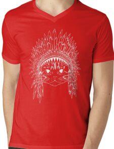 Cat with Headdress - white Mens V-Neck T-Shirt