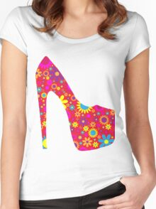 High Heel Shoe, Flowers - Red Yellow Blue  Women's Fitted Scoop T-Shirt