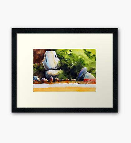 Whale Rock in watercolour Framed Print