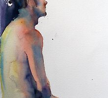 Male Nude, watercolour painting by Jenny Barnes