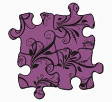 Jigsaw Puzzle Piece, Damask - Pink Black  Kids Clothes