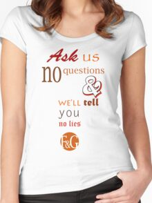Ask Us No Questions Women's Fitted Scoop T-Shirt