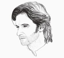 Guy of Gisborne Portrait Tee Print by sebabybaby