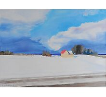 Lake Michigan Farmhouse Winter Photographic Print