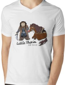Little Thorin and Horse Cartoon Tee Print Mens V-Neck T-Shirt