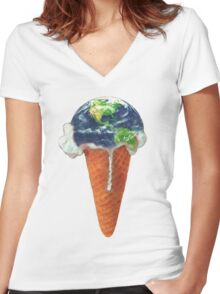 Ice Cream Global Warming Women's Fitted V-Neck T-Shirt