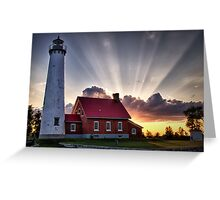 Tawas Point Lighthouse Sunset Greeting Card